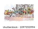 edinburgh castle is a historic... | Shutterstock .eps vector #1097353994