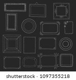 hand drawn set of photo frames. ... | Shutterstock .eps vector #1097355218