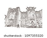 edinburgh castle is a historic... | Shutterstock .eps vector #1097355320