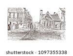 edinburgh castle is a historic... | Shutterstock .eps vector #1097355338