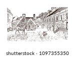 edinburgh castle is a historic... | Shutterstock .eps vector #1097355350