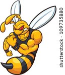 Yellow jacket mascot. Vector illustration with simple gradients. All in a single layer.