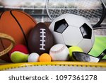 sport equipment  soccer tennis... | Shutterstock . vector #1097361278