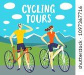 cycling tours poster. man and... | Shutterstock .eps vector #1097367716