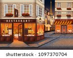 street in the old town of paris ...   Shutterstock .eps vector #1097370704
