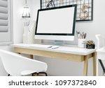workspace mockup with computer   Shutterstock . vector #1097372840