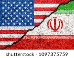 Flags Of Iran And Usa Painted...