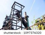 rusty industrial steel... | Shutterstock . vector #1097376320
