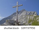 Wooden Cross With Alpspitze In...