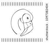 sketch of a flamingo head.... | Shutterstock .eps vector #1097382404