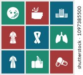 illness icon. collection of 9... | Shutterstock .eps vector #1097385500