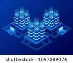 isometric database network... | Shutterstock .eps vector #1097389076
