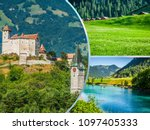 collage of tourist photos of... | Shutterstock . vector #1097405333