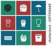 carton icon. collection of 9... | Shutterstock .eps vector #1097406668
