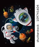 granny astranaut watering...   Shutterstock .eps vector #109741604