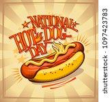 national hot dog day vector... | Shutterstock .eps vector #1097423783