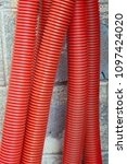 red corrugated curvilinear... | Shutterstock . vector #1097424020
