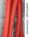 red corrugated curvilinear... | Shutterstock . vector #1097424029
