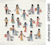 group of women in shopping day... | Shutterstock .eps vector #1097426840