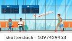 airport waiting room. departure ... | Shutterstock .eps vector #1097429453