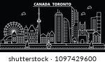 toronto city silhouette skyline.... | Shutterstock .eps vector #1097429600