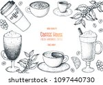 coffee cups  beans and coffee... | Shutterstock .eps vector #1097440730