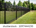 black aluminum fence with... | Shutterstock . vector #1097444150