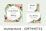 wedding invitation  floral... | Shutterstock .eps vector #1097445713