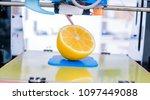 ripe slice of yellow lemon... | Shutterstock . vector #1097449088