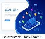 isometric smart home technology ... | Shutterstock .eps vector #1097450048