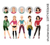 young women in sport clothes... | Shutterstock . vector #1097450648