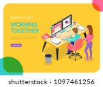 isometric business people... | Shutterstock .eps vector #1097461256