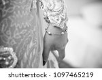 black and white bride's hand... | Shutterstock . vector #1097465219