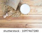 wooden background  soy beans... | Shutterstock . vector #1097467280
