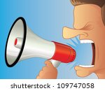 shouting using a megaphone | Shutterstock .eps vector #109747058