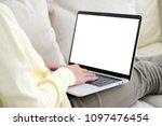 woman hands using laptop...   Shutterstock . vector #1097476454