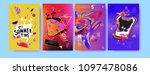 colorful summer poster set.... | Shutterstock .eps vector #1097478086