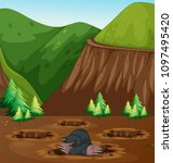 mole digging hole in nature... | Shutterstock .eps vector #1097495420