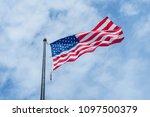 An American Flag Flaping Boldl...
