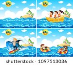 a set of beach activities... | Shutterstock .eps vector #1097513036