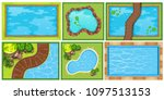 a top view of pond illustration | Shutterstock .eps vector #1097513153