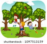 happy boys playing in nature... | Shutterstock .eps vector #1097513159