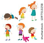 a set of crying kids... | Shutterstock .eps vector #1097513258