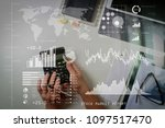 investor analyzing stock market ... | Shutterstock . vector #1097517470