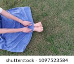 barefoot sit comfortably in the ... | Shutterstock . vector #1097523584