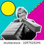 collage in pop art style  ...   Shutterstock . vector #1097525294