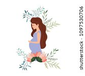 beautiful mom pregnancy with... | Shutterstock .eps vector #1097530706