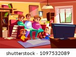family together watching tv... | Shutterstock .eps vector #1097532089
