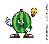 cartoon watermelon character... | Shutterstock .eps vector #1097535980
