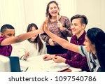 classmates giving a high five... | Shutterstock . vector #1097540786